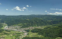 Surrounded by the Black Forest mountains Oppenau Rench valley from the air