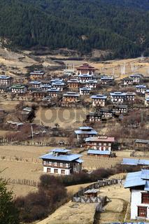 Colorful Dzong in beautiful bhutanese Village