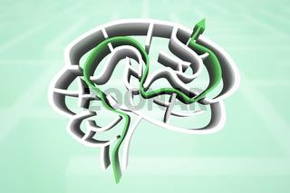 Composite image of brain maze with arrow