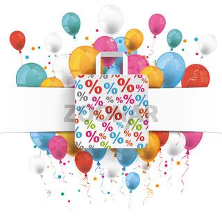 Banner Percentage Shopping Bag Balloons