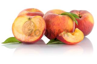 Pfirsich Pfirsiche Frucht Früchte geschnitten Hälfte Obst Freisteller freigestellt isoliert