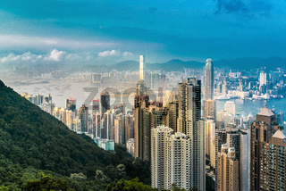 Hong Kong skyscrapers, skyline and port from Victoria Peak Hong Kong, Asia