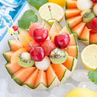 Fruit salad in a cantaloupe melon