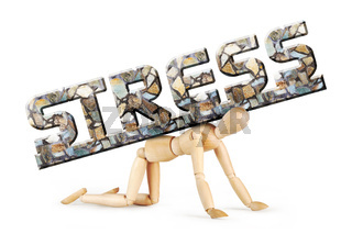 Man stands on his knees under the burden of emotional stress. Abstract image with a wooden puppet