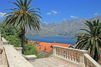 View to the bay of Kotor in Prcanj, Montenegro