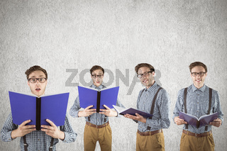 Composite image of nerd with notepad