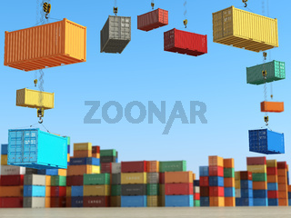 Cargo containers in storage area with forklifts. Delivery  or shipping background concept.