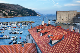 Marina and Rooftops in Old Town of Dubrovnik