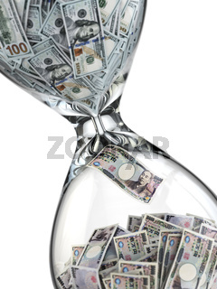 Yen dollar stock exchange concept. Sandlass and banknotes.