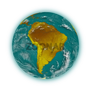 South America on blue planet Earth isolated on white background. Highly detailed planet surface. Elements of this image furnished by NASA.
