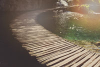 Retro Hiking Path with Sunlight with Instagram Style Vintage Fil