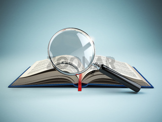 Library search. Loupe and book. Educational concept.