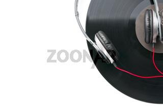 headphones and vinyl record