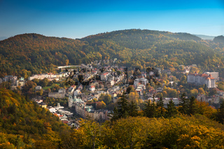 Carlsbad at autumn time at a cloudless day, Czech Republic