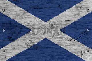 Scotland national flag painted old oak wood fastened
