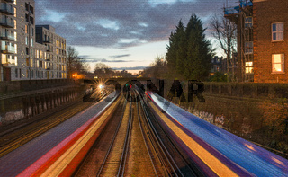 Early evening fast trains, Clapham, London, United Kingdom