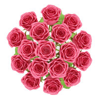 top view of red roses in glass vase isolated on white background