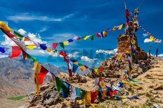 Buddhist prayer flags in Himalayas