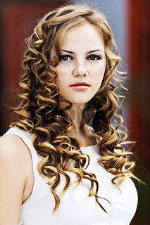 girl serious curly
