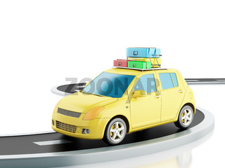 3d car with travel suitcases.