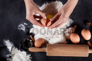 Making cookies on the blackboard with eggs, flour, cinnamon