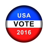 Red white and blue vote button for 2016