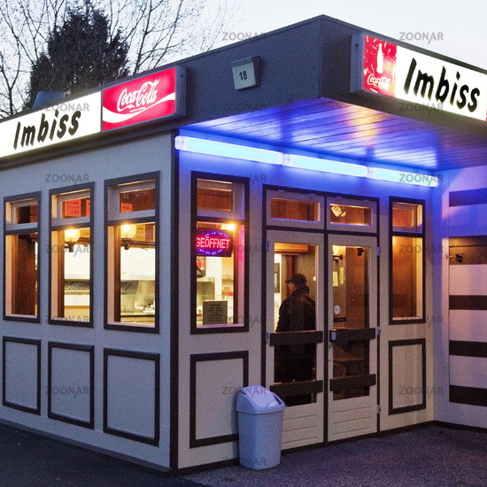 typical snack bar in the evening, Hagen, Ruhr Area, North Rhine-Westphalia, Germany