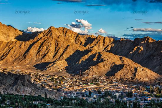Aerial view of Leh town in Ladakh