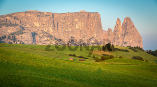Schlern mountain in morning light, Seiser Alm, South Tyrol, Italy