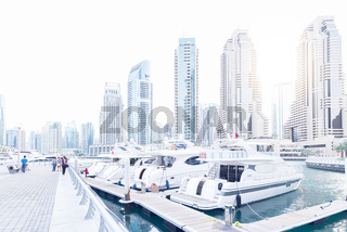 Dubai Marina with boats