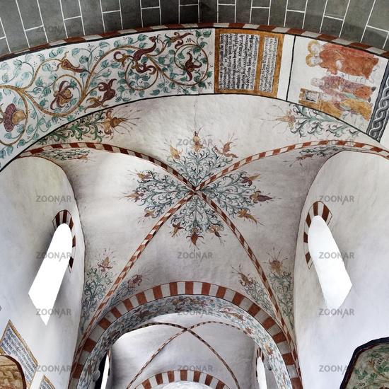 Gummersbach Lieberhausen evangelic village church Bunte Kerk with mural paintings, Germany