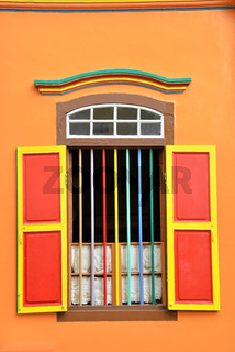 Colorful windows and details on a colonial house in Little India Singapore
