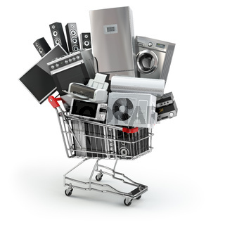 Home appliances in the shopping cart. E-commerce or online shopping concept.