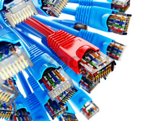 LAN network connection Ethernet RJ45 cables. Choise of provider concept.