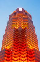 Red futuristic skyscraper