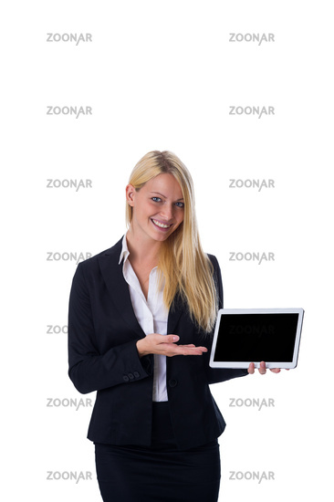 Blonde with tablet in hand