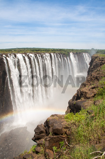 Victoria Falls with Rainbow, Zimbabwe