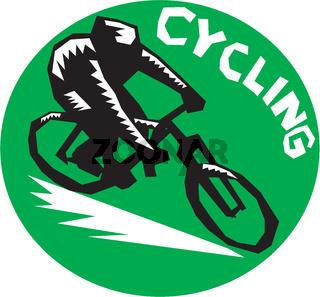 Cyclist Riding Bicycle Cycling Circle Woodcut