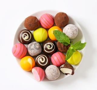 Assorted chocolate truffles and pralines