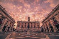 Rome, Italy: The Capitolium square in the sunrise