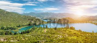 Panoramic view of a beautiful Bacinska lake in Croatia