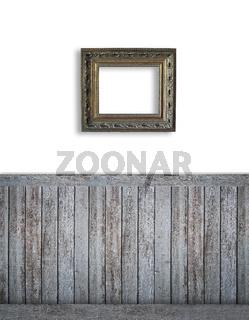 Blank backdrop with dark beadboard