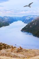 Mountains on the way to the Cliff Preikestolen in fjord Lysefjord - Norway