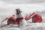 Snowman with bells in snowy background
