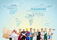 International Teamwork mit vielen Berufen