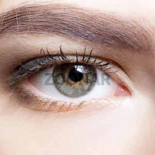 Close-up shot of female eye makeup.