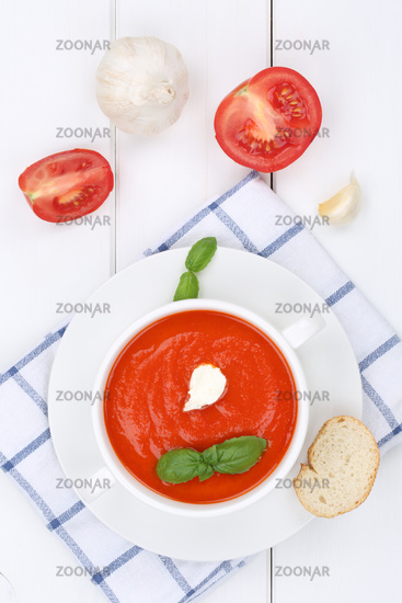 Tomato soup fresh tomato soup in soup cup from above