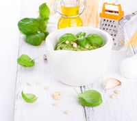 Homemade traditional basil pesto with olive oil