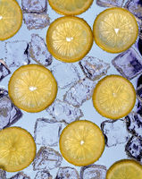 Slices of lemon on ice