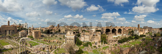Panorama of the ruin field of the Forum Romanum